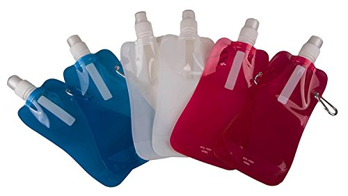 Sports Water Bottles by Clever Creations  Collapsible Camping Friendly  BPA Free  Unique Collapsible Bottles hold 480 mL each - 6 Pack  Perfect for Biking Hiking or Relaxing  Blue Pink White