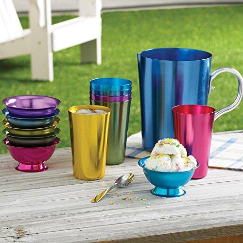Aluminum Ice Cream Dessert Bowls Set of 6 Bowls - Retro Jewel-tone Colors