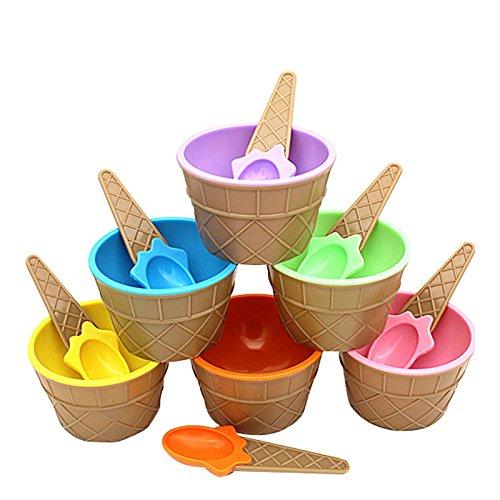 Vivian 2 Set Ice Cream Sundae Bowl Cups Dessert Container Holder with Spoons Color Random
