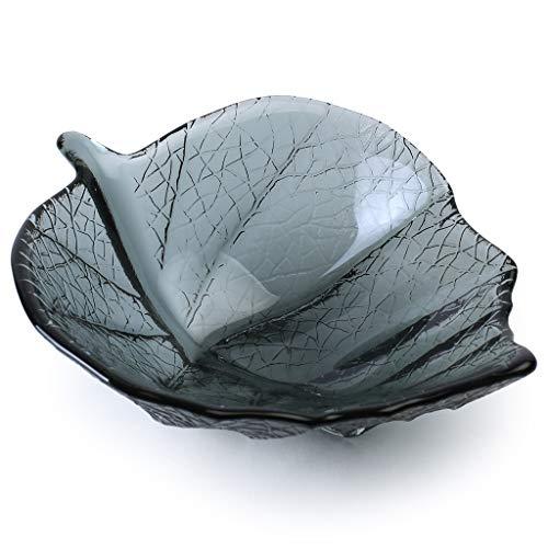 Glass Leaf Bowl Smoky Grey Small