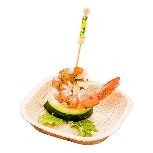 Palm Leaf Bowl Appetizer Bowl - Square Palm Bowl - Biodegradable Disposable - 35 Inch 4 Ounce - 100ct Box - Restaurantware