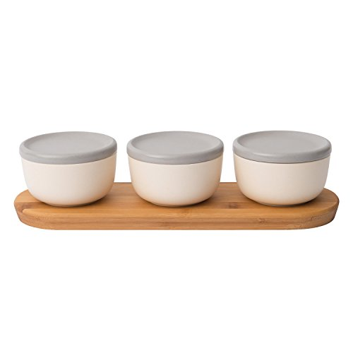 Berghoff Covered Bowl Set 6pc Pasta Bowl Cereal bowls Soup bowlsSnack bowls Noodle bowls Bowls for Dessert and Fruit Natural Bamboo Fiber BPA free with Wooden Tray