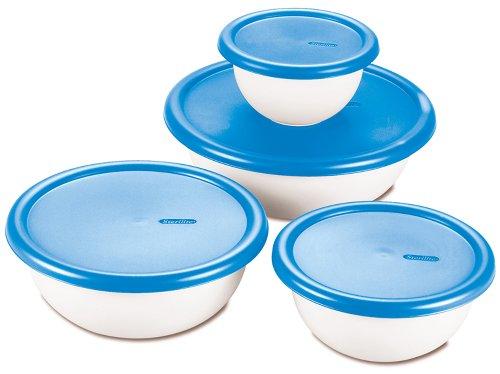 Sterilite 07479406 8 Piece Covered Bowl Set White Blue