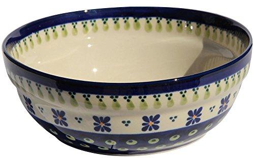 Polish Pottery CerealSalad Bowl From Zaklady Ceramiczne Boleslawiec 1152-296a Traditional Pattern Height 26 Diameter 67