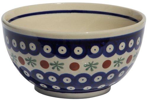 Polish Pottery Ice CreamCereal Bowl From Zaklady Ceramiczne Boleslawiec 971-41 Traditional Pattern Height 28 Diameter 55