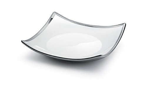 White and Silver Plated 925 Sterling Square Serving Platter