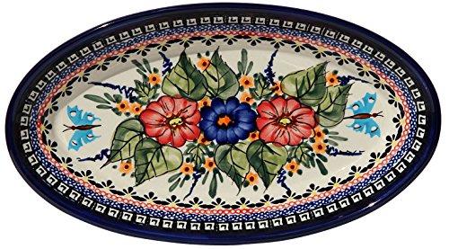 Polish Pottery Oval Serving Platter From Zaklady Ceramiczne Boleslawiec 1103-149ar Unikat Signature Pattern Dimensions 11 Inch X 625 Inch