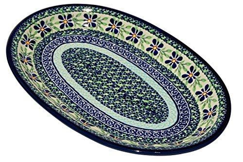 Polish Pottery Oval Serving Platter From Zaklady Ceramiczne Boleslawiec 1264-du121 Unikat Pattern Dimensions 12 Inch X 775 Inch