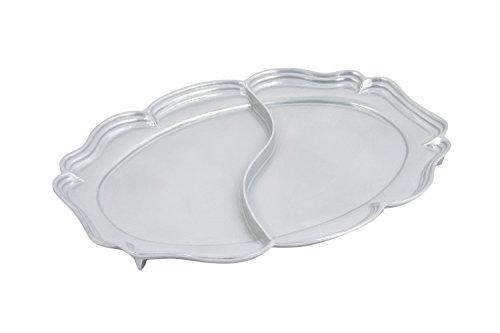 Bon Chef 2028DPG AluminumPewter Glo Queen Anne Divided Platter 20 Length x 14-34 Width
