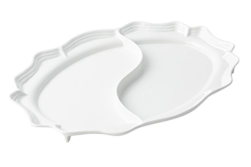 Bon Chef 2029D Aluminum Queen Anne Divided Platter 22 Length x 16-34 Width Sandstone White