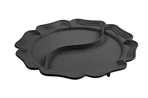 Bon Chef 2061DBLK Aluminum Queen Anne Divided Platter 18 Diameter Black