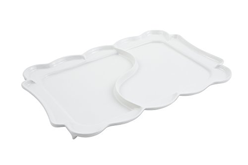 Bon Chef 2097DWHITE Aluminum Queen Anne Divided Platter White