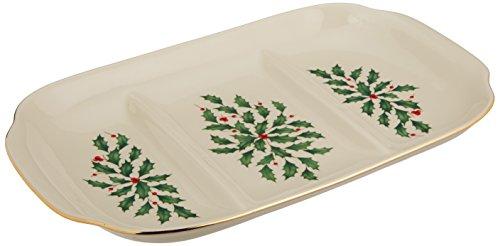 Lenox Holiday Divided Platter Ivory