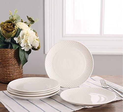 SOLECASA 8-inchSet of 6 Ceramic Round Serving Plate SetDinner PorcelainSaladPizzaBread Serving PlatePure WhitePatterned Rim