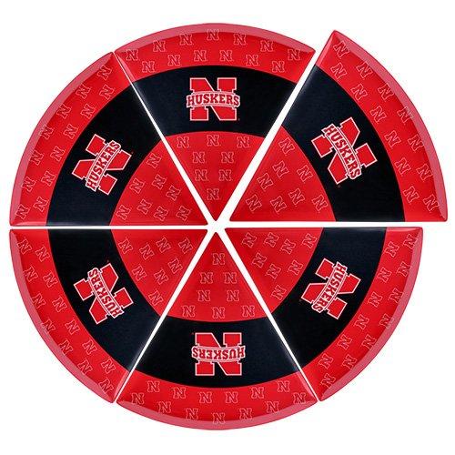 Supreme Housewares NCAA Nebraska Pizza Plate Set of 6 ScarletCream