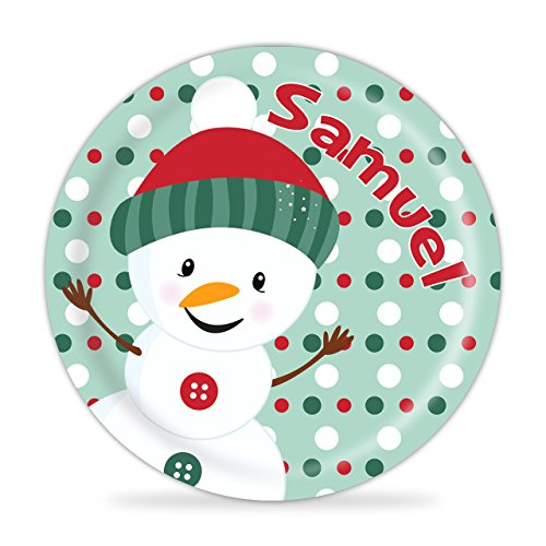 Snowman Plate - Snowman Christmas Melamine Personalized Plate