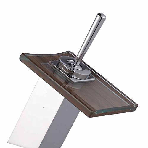 Waterfall Faucet Cast Heavy Chrome Square Glass Plate Short  Renovators Supply