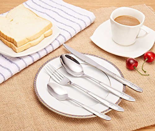 XD Elegant Pattern 410 Stainless Steel Dinner Set Pack of 16 4 AM19