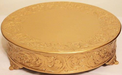 Belmont 14 Inch Matte Gold Round Wedding Cake Stand Plateau-