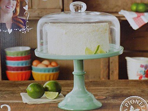Pioneer Woman Pedestal Cake Plate Glass Lid Jadeite Color 10 Inch
