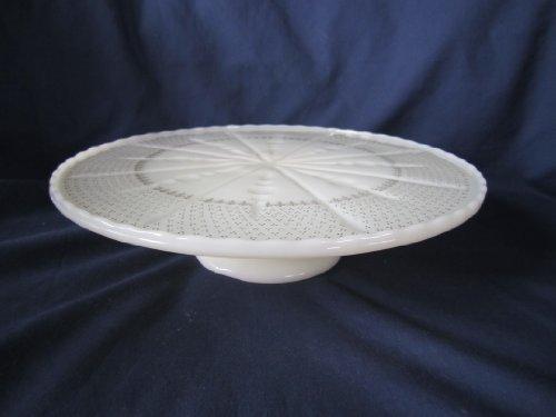 Vintage Anchor Hocking Milk Glass Ivory Gold Pedestal Cake Plate 10 14 x 2 12