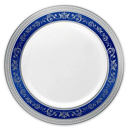 Posh Setting Royal Collection Combo Pack China Look White SilverBlue Plastic Plates Includes 4 Packs of 725 Salad Plates A total of 40 plates Fancy Disposable Dinnerware