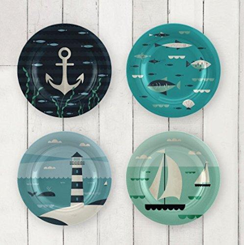 Magpie AHOY Nautical Dessert Salad or Side Plates - Set of 4