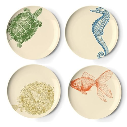 Thomas Paul Sea Life 9-Inch Side Plates Set of 4