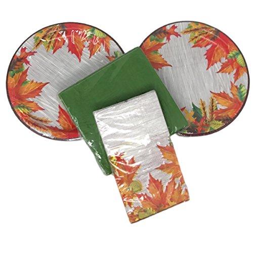 Thanksgiving Plates and Napkins Leaf Design