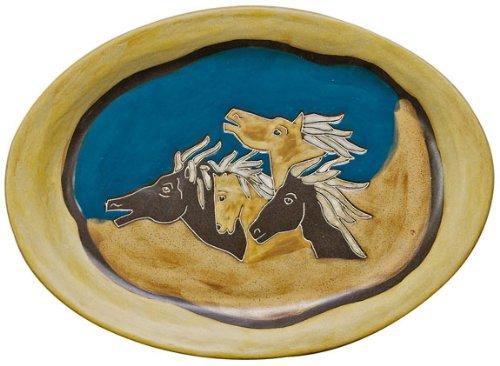 Mara Ceramic Stoneware 13 Inch Horses Small Oval Platter
