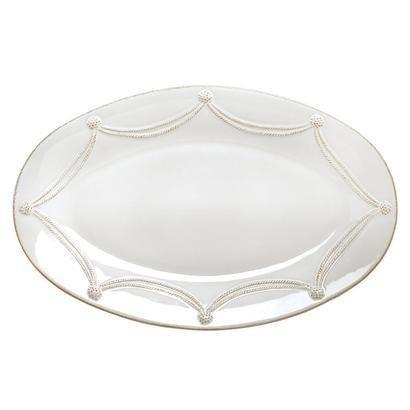 JuliskaBerry Thread Large Oval Platter Whitewash