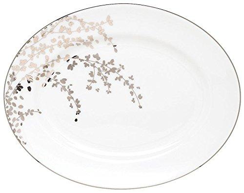 Kate Spade New York 808022 Gardner Street Platinum Oval Platter White