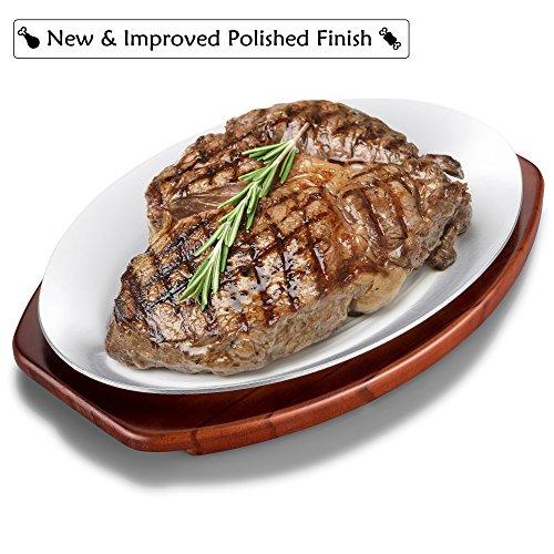 ChefGiant Sizzling Plate Steak Platter Set 12 Inch Oval Aluminum with Wood Underliner Holder - Indoor Outdoor Steak Pan Grill Server - Display Steak Fish Pizza Baked or Grilled Goods