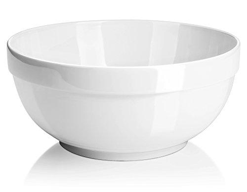 DOWAN 2 Quart Porcelain Serving Bowls - 2 Packs White Anti-slipping Stackable