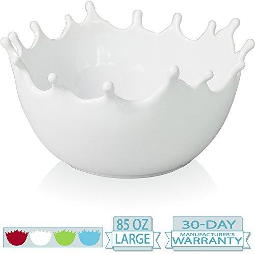 Premium Large Salad Bowl - Serving Bowl - Fruit Bowl - Candy Bowl - Decorative Centerpiece Bowl - Best for Serving Fruit Salad Candy Popcorn Punch Chips Pasta - Unique Modern Design - Ceramic White