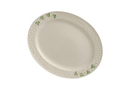Belleek Pottery 1327 Shamrock 112-Inch Oval Platter Small White
