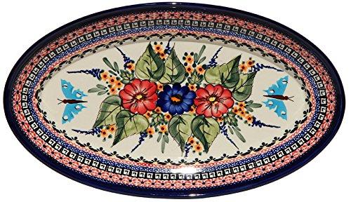 Polish Pottery Large Oval Serving Platter From Zaklady Ceramiczne Boleslawiec 1104-149ar Unikat Signature Pattern Dimensions 14 Inch X 8 Inch