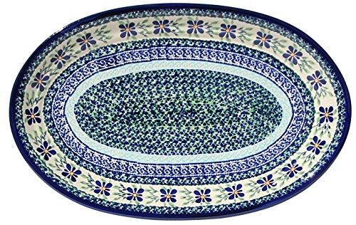 Polish Pottery Oval Serving Platter From Zaklady Ceramiczne Boleslawiec 1265-du121 Unikat Signature Pattern Dimensions 14 Inch X 9 Inch