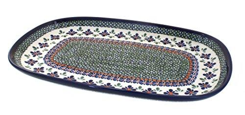 Polish Pottery Platter 15-inch Gingham Flowers