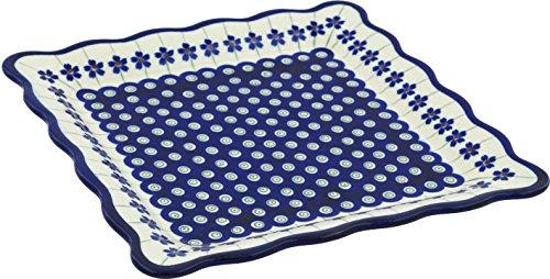 Polish Pottery Platter 9-inch Flowering Peacock