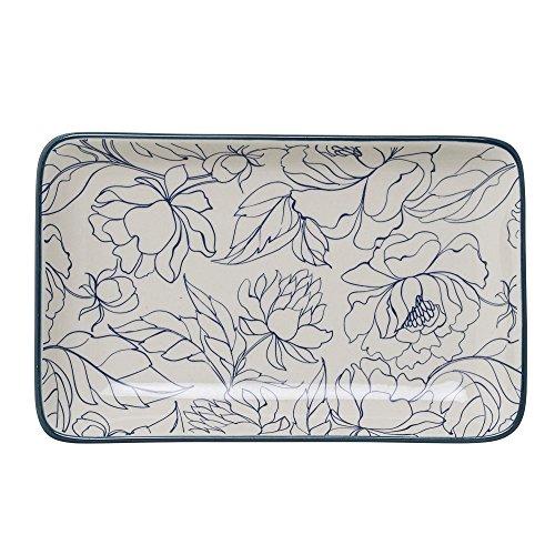 Bloomingville A21106752 Blue White Oval Fleur Plate Multicolor