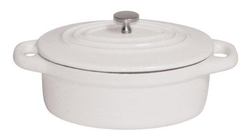 Paderno World Cuisine 042-Quart Oval Cast-Iron Casserole White