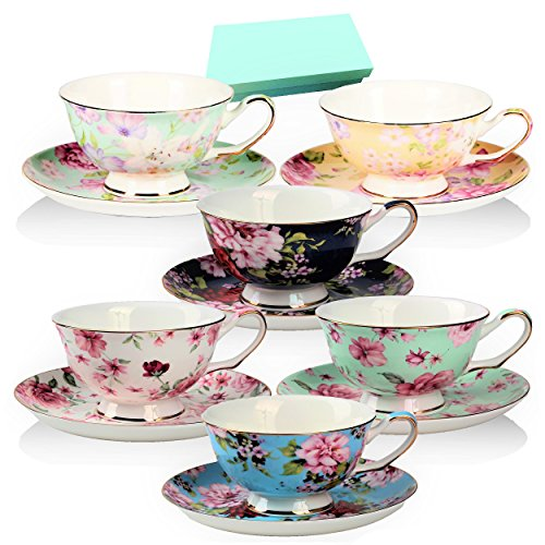 Tea Cup and Saucer Set of 6 Floral Tea Cups 8 OzBone China Porcelain