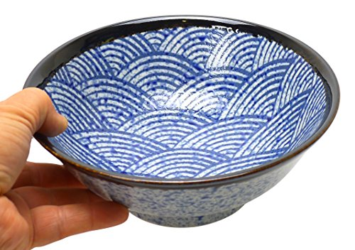 Spiceberry Home Porcelain Bowl with Seigaiha Wave Design 825-Inch Set Of Two
