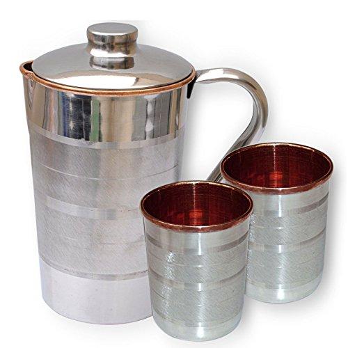 BLUE NIGHT 1 Steel Copper Luxury Jug 2 steel copper Luxury Glass Set of-1