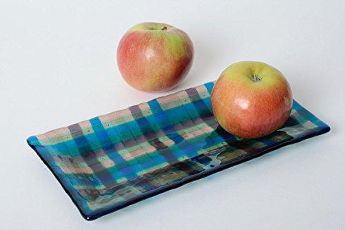 Handmade Decorative Blue Checkered Fused Glass Plate Of Rectangular Shape