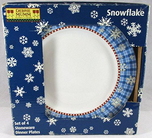 Debbie Mumm Snowflake Set of 4 Stoneware Dinner Plates