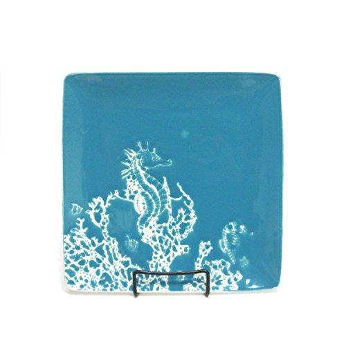 Marine Life Seahorse Square Stoneware Dinner Plate