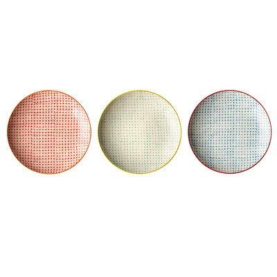 8 Round Ceramic Plate Set of 3