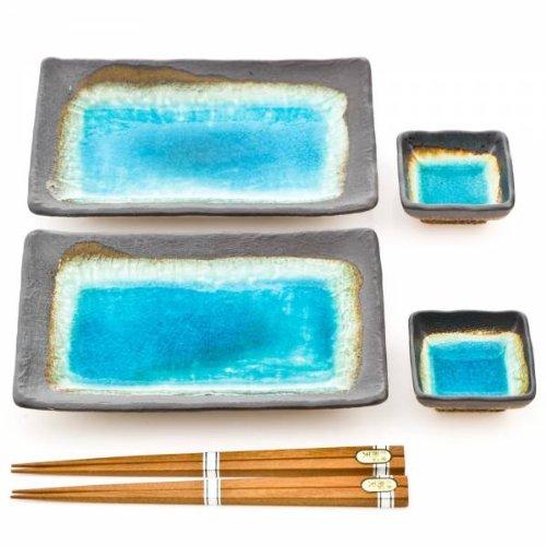 Blue Crackleglaze Japanese Ceramic Plate Set for Sushi Other Cuisine - Turquoise Glaze - Includes Soy Wasabi Sauce Dishes Plus Chopsticks in Gift Box